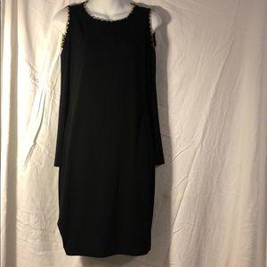 Black Calvin Klein open shoulder dress